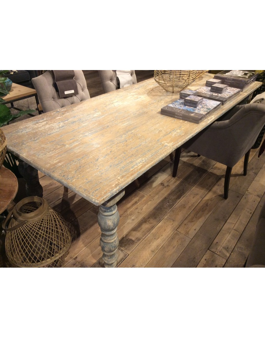 Dining table grey/blue 240-100