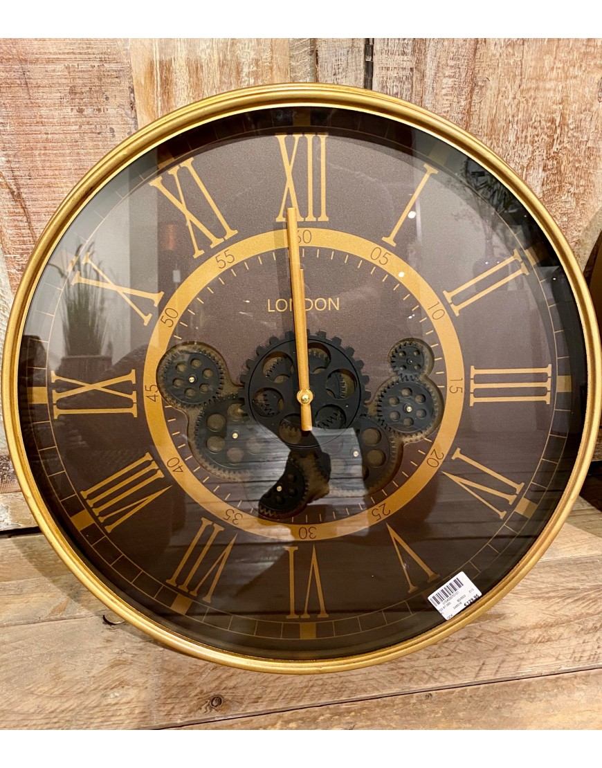 Gear Clock London Mazarine/Gold with Glass