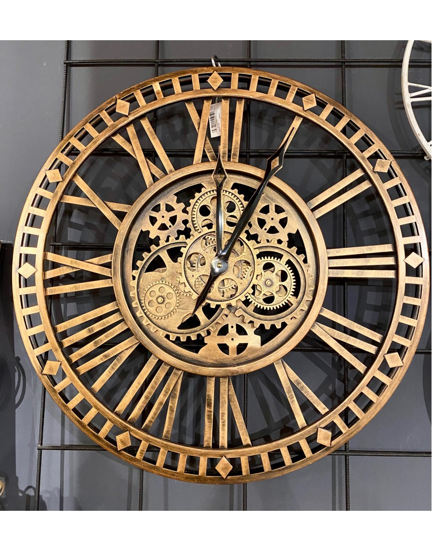 Open Wall Clock Gears Gold
